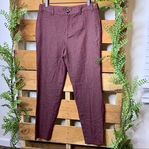 Zara Trafuluc | Burgundy Pinstriped Trousers